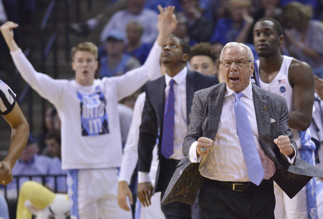 North Carolina head coach Roy Williams reacts to play against Butler in the second half of an NCAA college basketball tournament South Regional semifinal game Friday, March 24, 2017, in Memphis, T ...