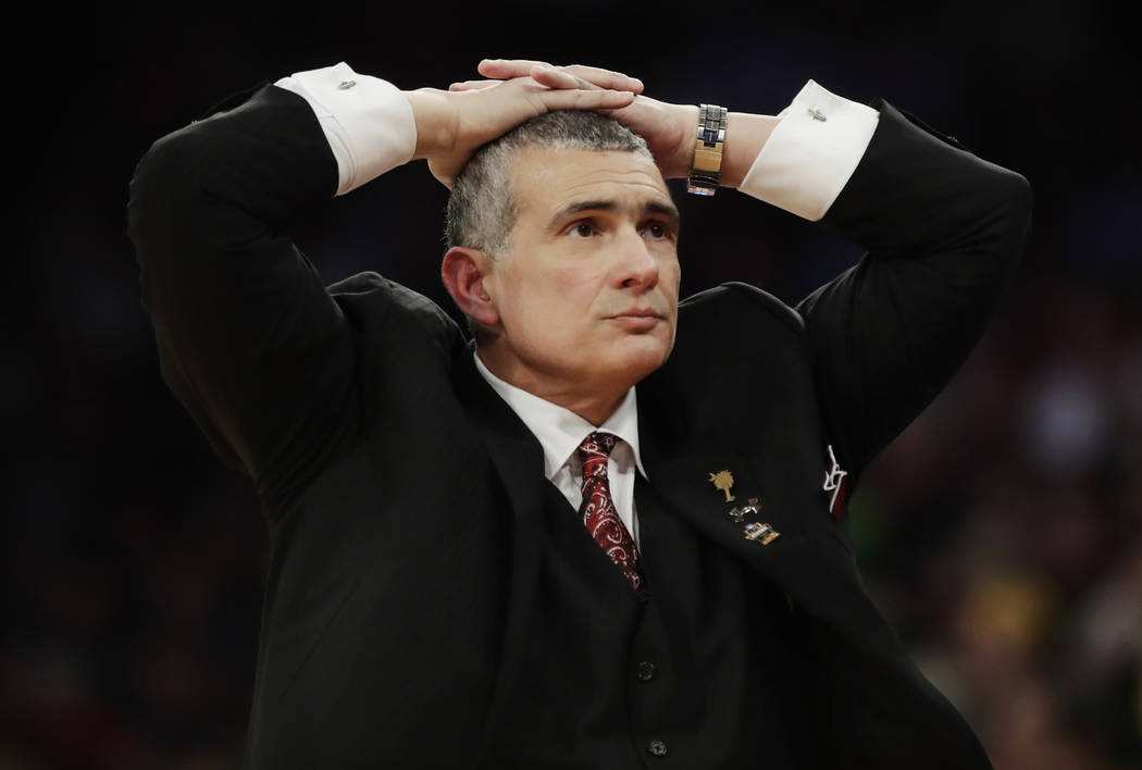 South Carolina head coach Frank Martin reacts in the second half against Baylor during an East Regional semifinal game of the NCAA men's college basketball tournament, Friday, March 24, 2017, in N ...