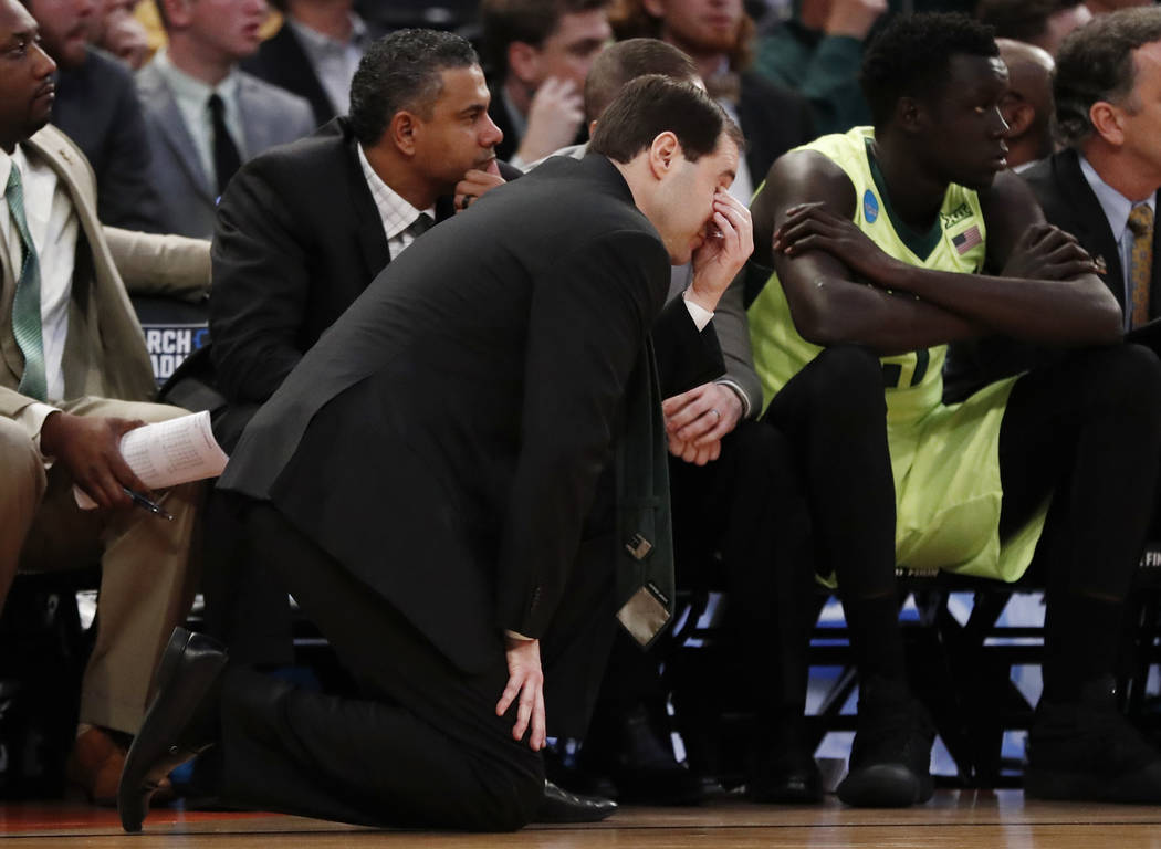 Baylor head coach Scott Drew reacts in the second half against South Carolina during an East Regional semifinal game of the NCAA men's college basketball tournament, Friday, March 24, 2017, in New ...
