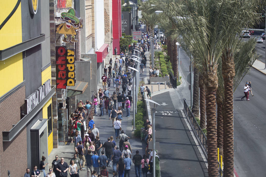Las Vegas Blvd. north bound pedestrians were routed east on Harmon Ave on Saturday, March 25, 2017, in Las Vegas. Pedestrians were un able to travel either direction on both the west and eats side ...