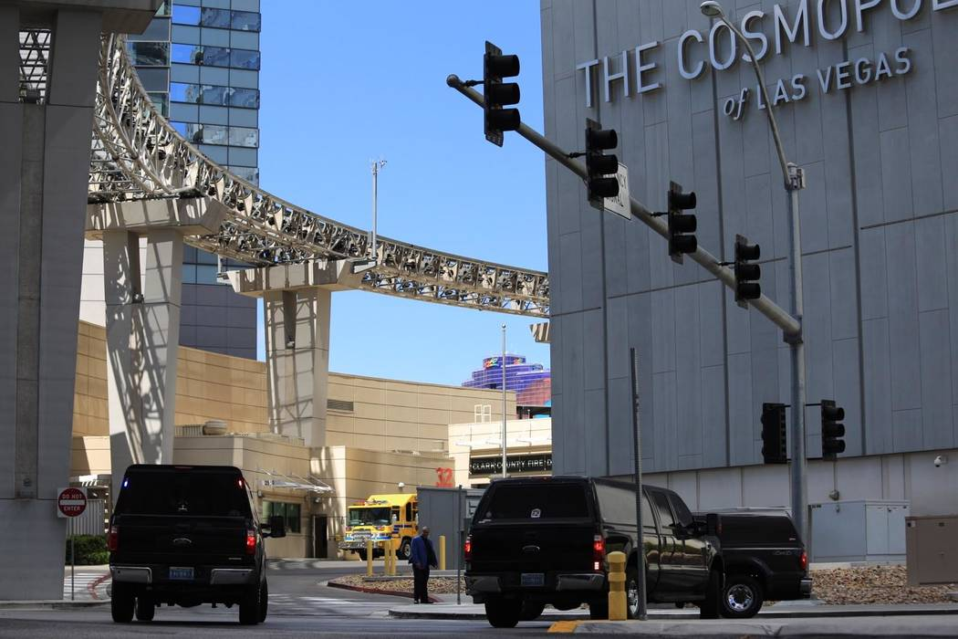 Las Vegas police are investigating a shooting on a bus outside the Cosmopolitan on Saturday, March 25, 2017. (Brett Le Blanc/ Las Vegas Review-Journal) @bleblancphoto