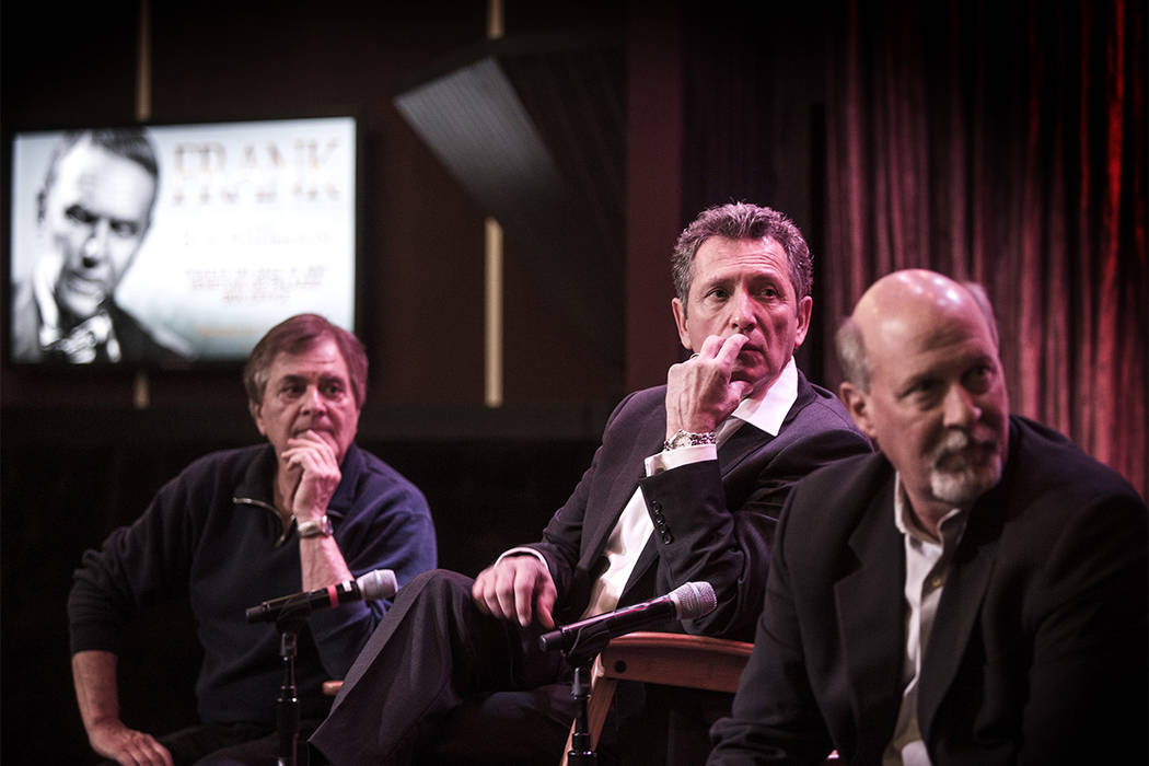 """Legendary pianist Vince Falcone, left, died Friday at the age of 78. Falcone's most recent Strip gig was as music director for """"Frank, The Man, The Music,"""" with Bob Anderson, center, as Frank SI ..."""