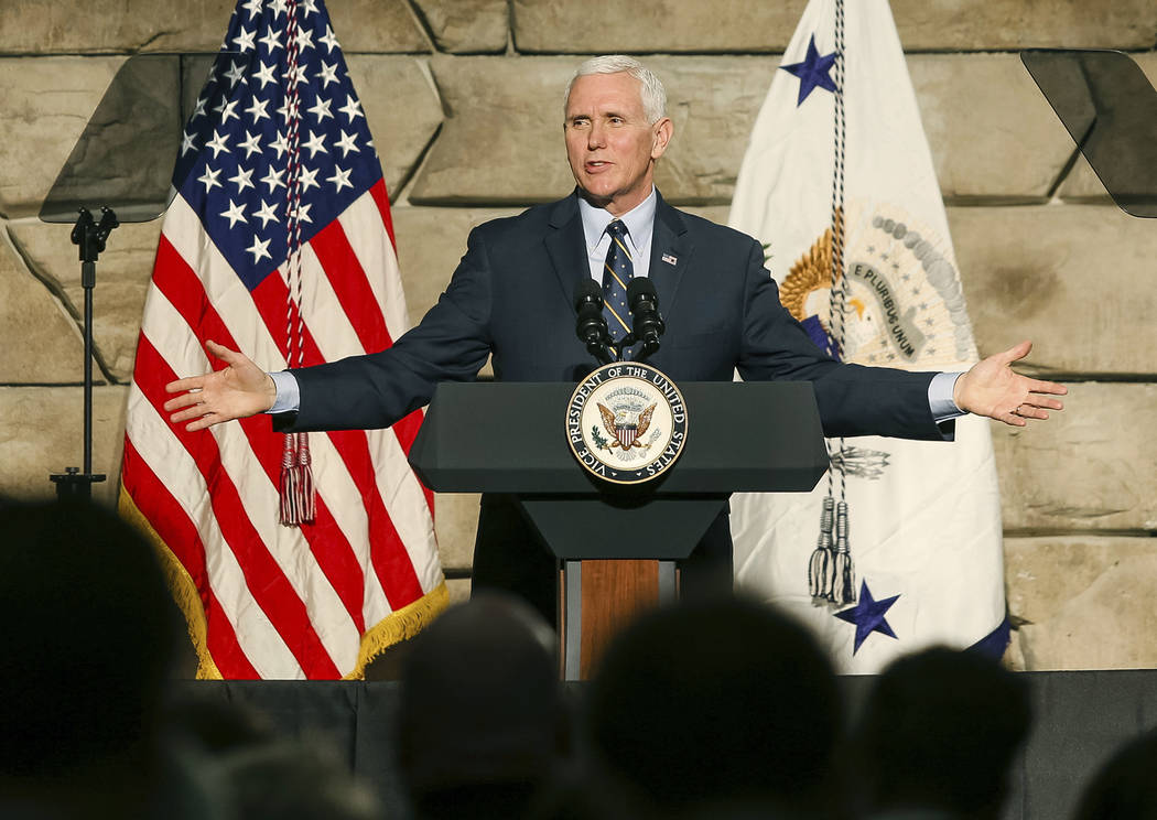 Vice President Mike Pence speaks during a visit to Foster Supply Inc. on Saturday, March 25, 2017, in Scott Depot, W.Va. Pence was in West Virginia to participate in a listening session with small ...