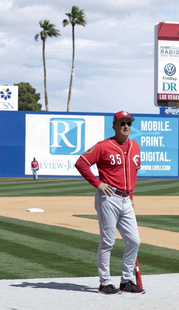 Cincinnati Reds bench coach Jim Riggleman watches his team take batting practice at Cashman Field ahead of playing the Chicago Cubs in Las Vegas on Saturday, March 25, 2017. (Heidi Fang /Las Vegas ...