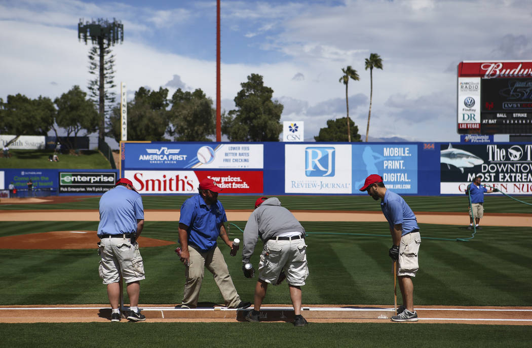 The field is prepared before the Big League Weekend baseball game at Cashman Field in Las Vegas on Saturday, March 25, 2017. (Chase Stevens/Las Vegas Review-Journal) @csstevensphoto