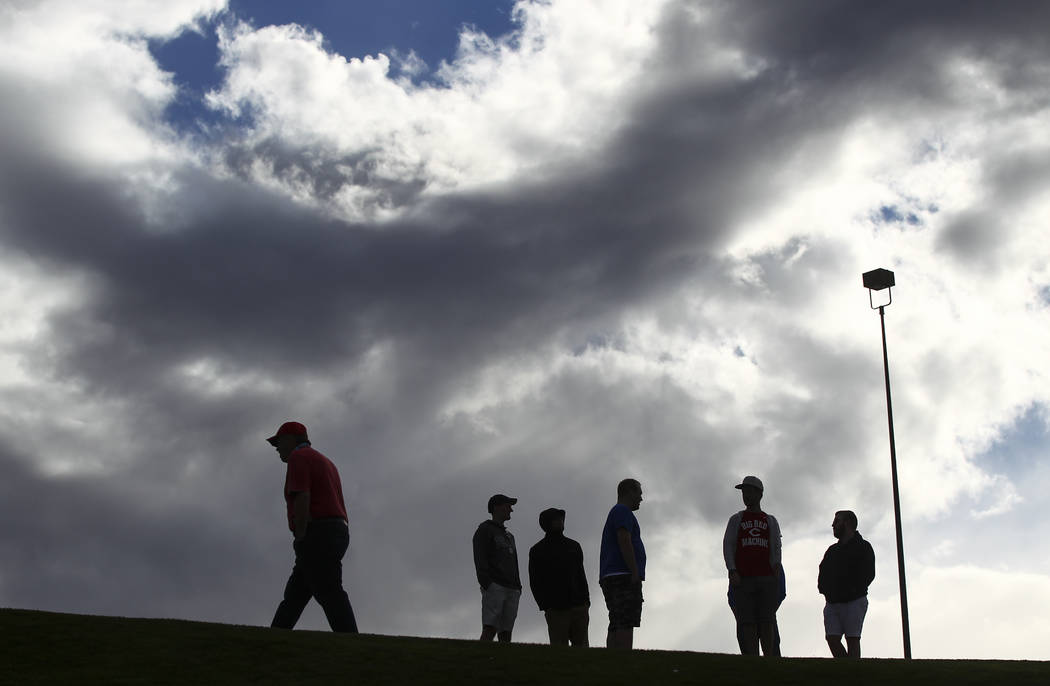 Fans are silhouetted against the sky after the Big League Weekend baseball game at Cashman Field in Las Vegas on Saturday, March 25, 2017. (Chase Stevens/Las Vegas Review-Journal) @csstevensphoto