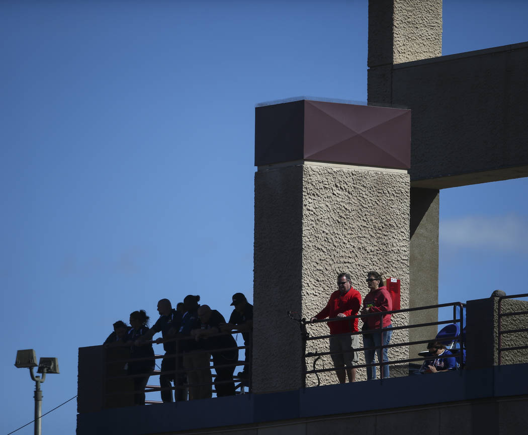 Fans watch the Chicago Cubs play the Cincinnati Reds during their Big League Weekend baseball game at Cashman Field in Las Vegas on Saturday, March 25, 2017. (Chase Stevens/Las Vegas Review-Journa ...