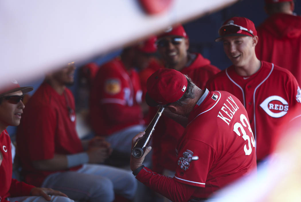 Cincinnati Reds first base coach Pat Kelly looks over a bat in the dugout during their Big League Weekend baseball game against the Chicago Cubs at Cashman Field in Las Vegas on Saturday, March 25 ...