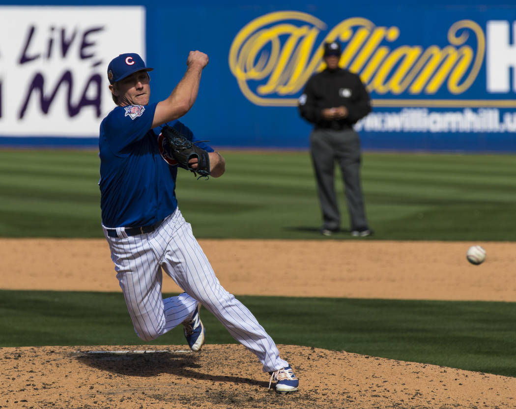 Chicago Cubs pitcher David Berg (55) throws during their Big League Weekend baseball game against the Cincinnati Reds at Cashman Field in Las Vegas on Saturday, March 25, 2017. (Miranda Alam/Las V ...