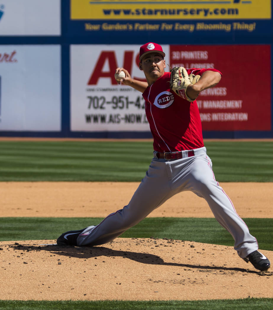 Cincinnati Reds starting pitcher Robert Stephenson (55) throws during their Big League Weekend baseball game against the Chicago Cubs at Cashman Field in Las Vegas on Saturday, March 25, 2017. (Mi ...