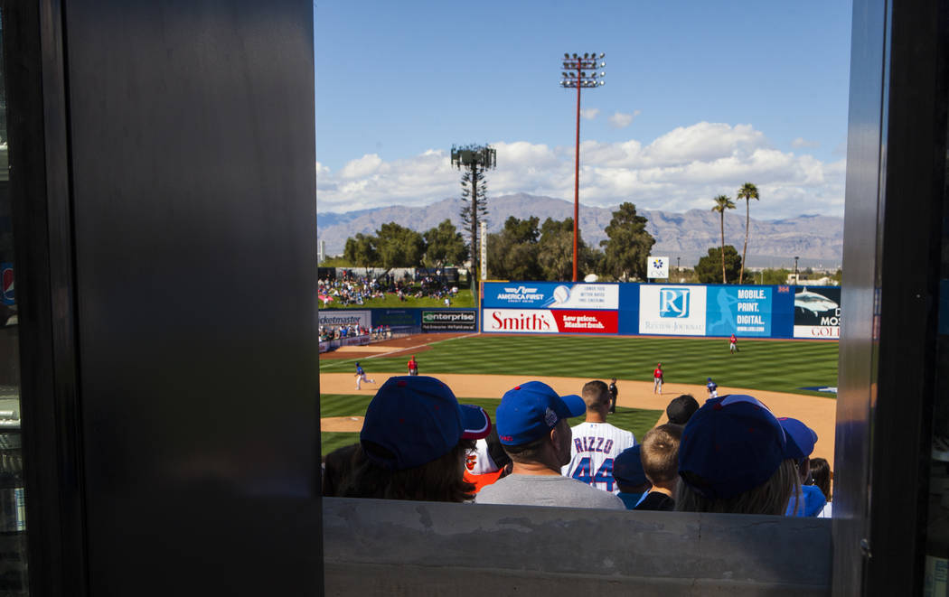 Fans watch the Cincinnati Reds play the Chicago Cubs during the Big League Weekend baseball game at Cashman Field in Las Vegas on Saturday, March 25, 2017. (Miranda Alam/Las Vegas Review-Journal)  ...