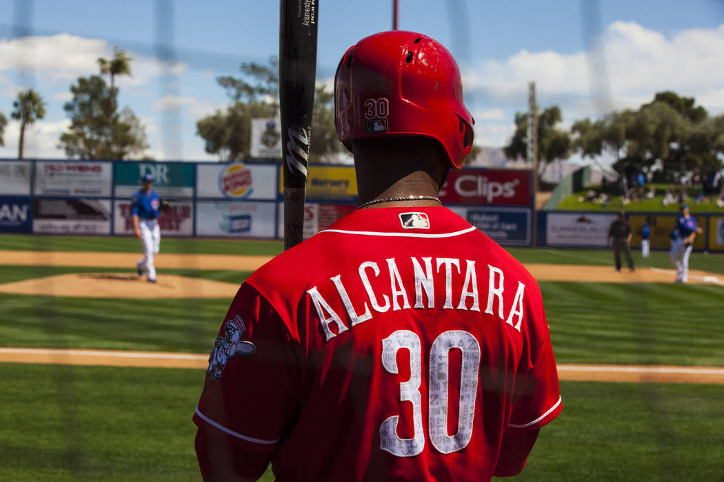 Cincinnati Reds shortstop Arismendy Alcantara (30) warms up before going up to bat during their Big League Weekend baseball game against the Chicago Cubs  at Cashman Field in Las Vegas on Saturday ...