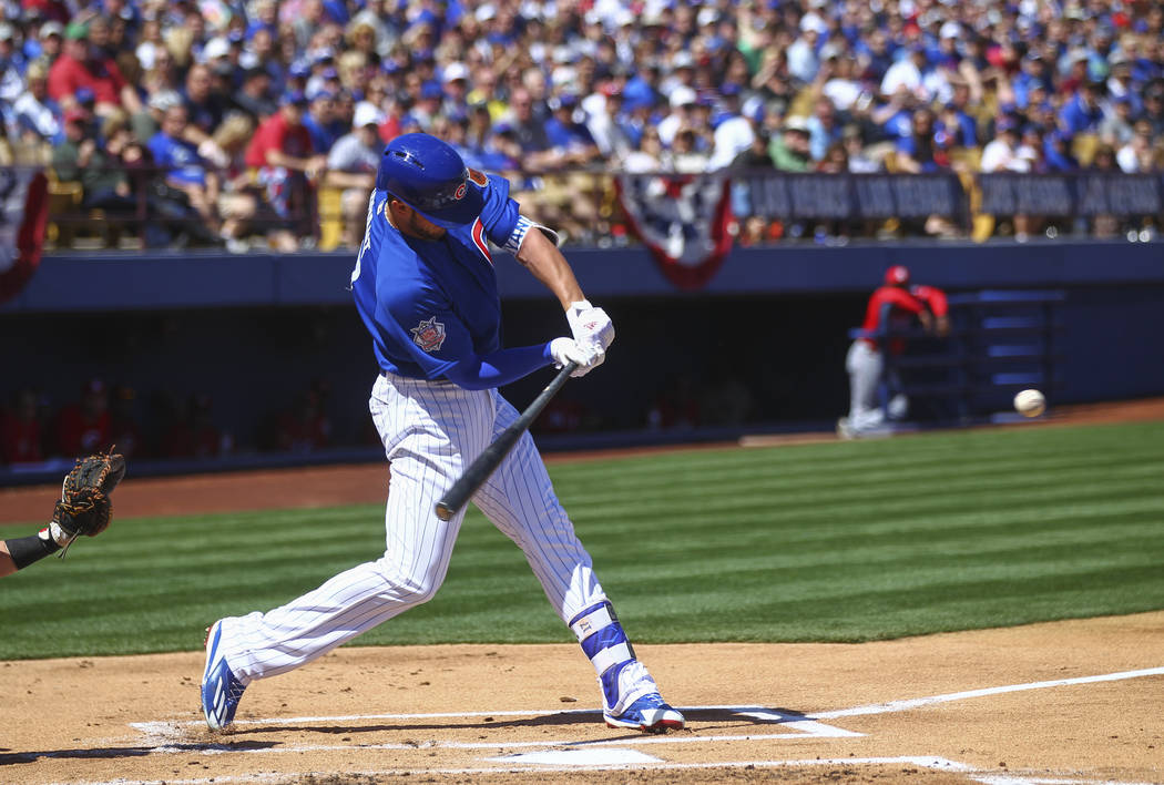 Chicago Cubs' Kris Bryant (17) bats against the Cincinnati Reds during their Big League Weekend baseball game at Cashman Field in Las Vegas on Saturday, March 25, 2017. (Chase Stevens/Las Vegas Re ...