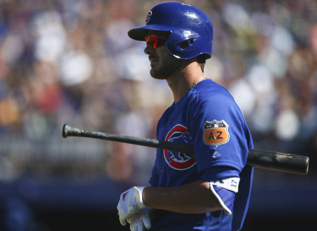 Chicago Cubs' Kris Bryant (17) prepares to bat against the Cincinnati Reds during their Big League Weekend baseball game at Cashman Field in Las Vegas on Saturday, March 25, 2017. (Chase Stevens/L ...