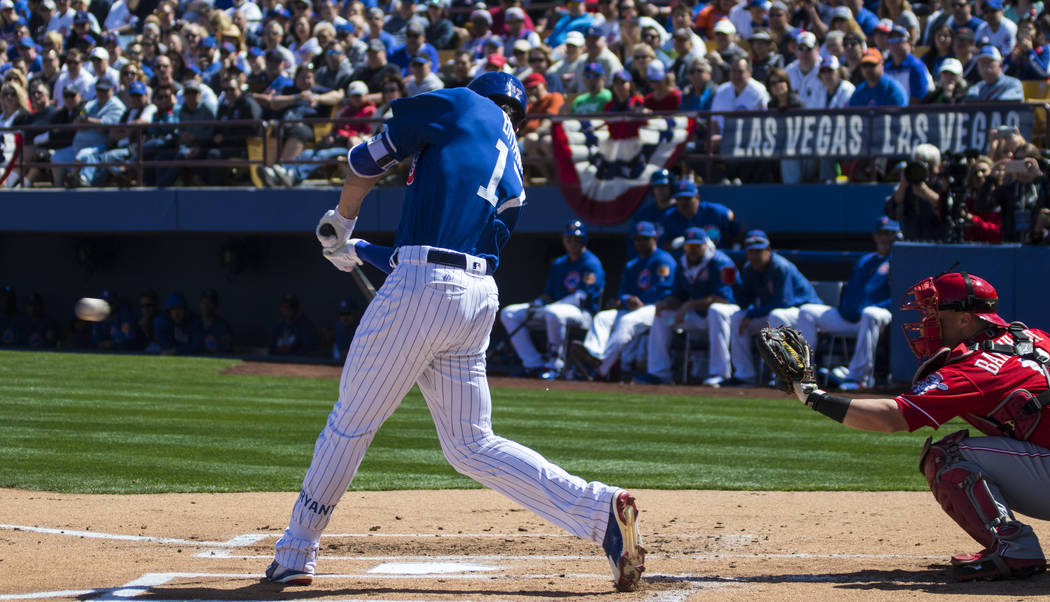 Chicago Cub's Kris Bryant (17) hits the ball during their Big League Weekend baseball game at Cashman Field in Las Vegas on Saturday, March 25, 2017. (Miranda Alam/Las Vegas Review-Journal) @miran ...