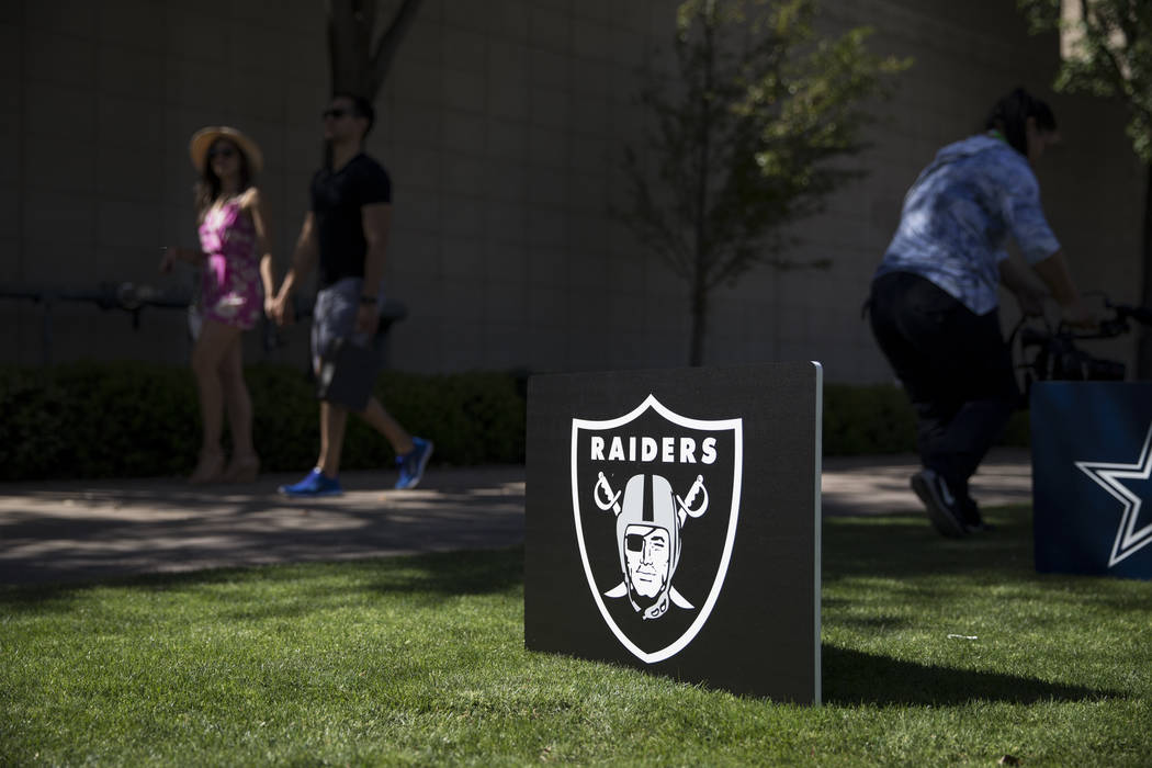 An Oakland Raiders sign during NFL Annual Meeting at the Arizona Biltmore Hotel on Sunday, March 26, 2017, in Phoenix, Ariz. (Erik Verduzco/Las Vegas Review-Journal) @Erik_Verduzco