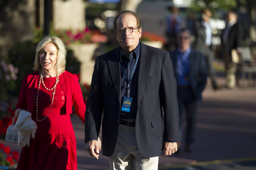 Los Angeles Chargers owner Dean Spanos with his wife Susie, left, during day one of the NFL Annual Meeting at the Arizona Biltmore Hotel on Sunday, March 26, 2017, in Phoenix, Ariz. (Erik Verduzco ...