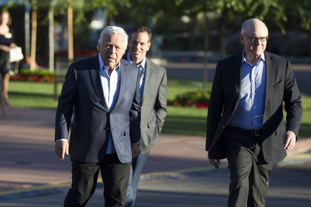 New England Patriots owner Robert Kraft, left, with New York Jets owner Woody Johnson during day one of the NFL Annual Meeting at the Arizona Biltmore Hotel on Sunday, March 26, 2017, in Phoenix,  ...