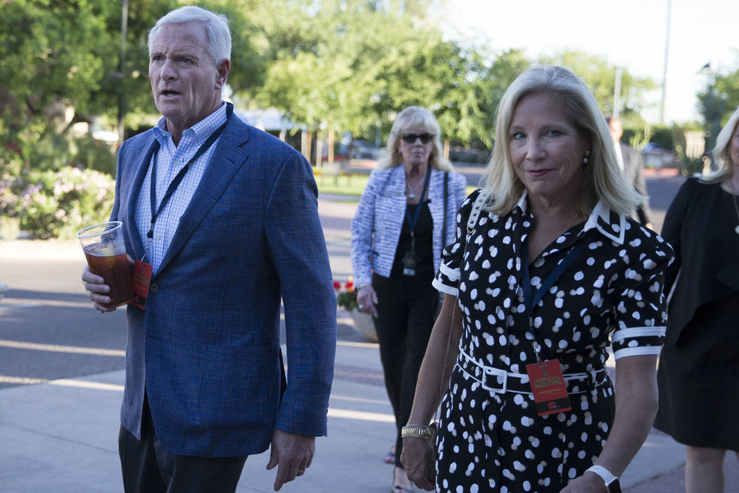 Cleveland Browns owners Jimmy Haslam, left, and his wife Dee, during day one of the NFL Annual Meeting at the Arizona Biltmore Hotel on Sunday, March 26, 2017, in Phoenix, Ariz. (Erik Verduzco/Las ...