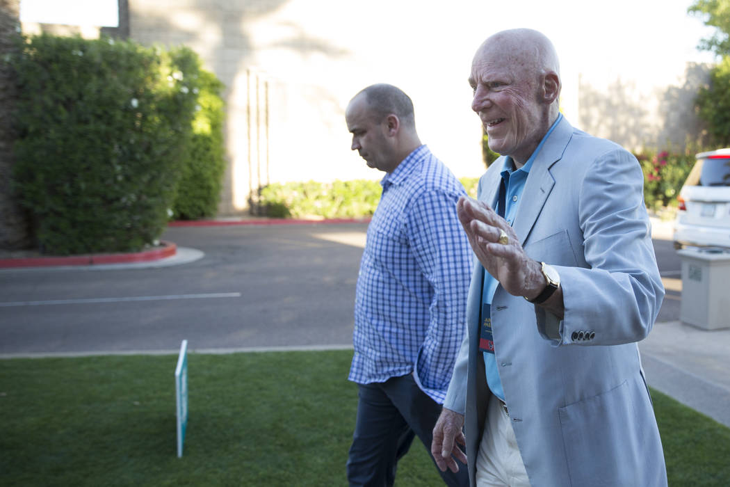 Houston Texans owner Bob McNair, right, during day one of the NFL Annual Meeting at the Arizona Biltmore Hotel on Sunday, March 26, 2017, in Phoenix, Ariz. (Erik Verduzco/Las Vegas Review-Journal) ...