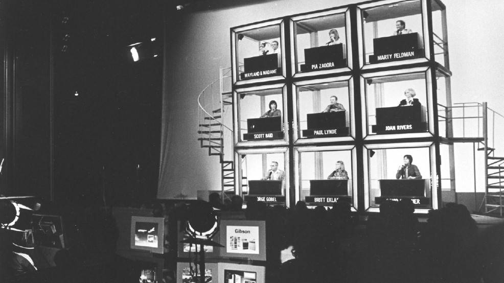 "The classic set of ""Hollywood Squares"" during the show's run at the Riviera in the 1970s. (Courtesy)"