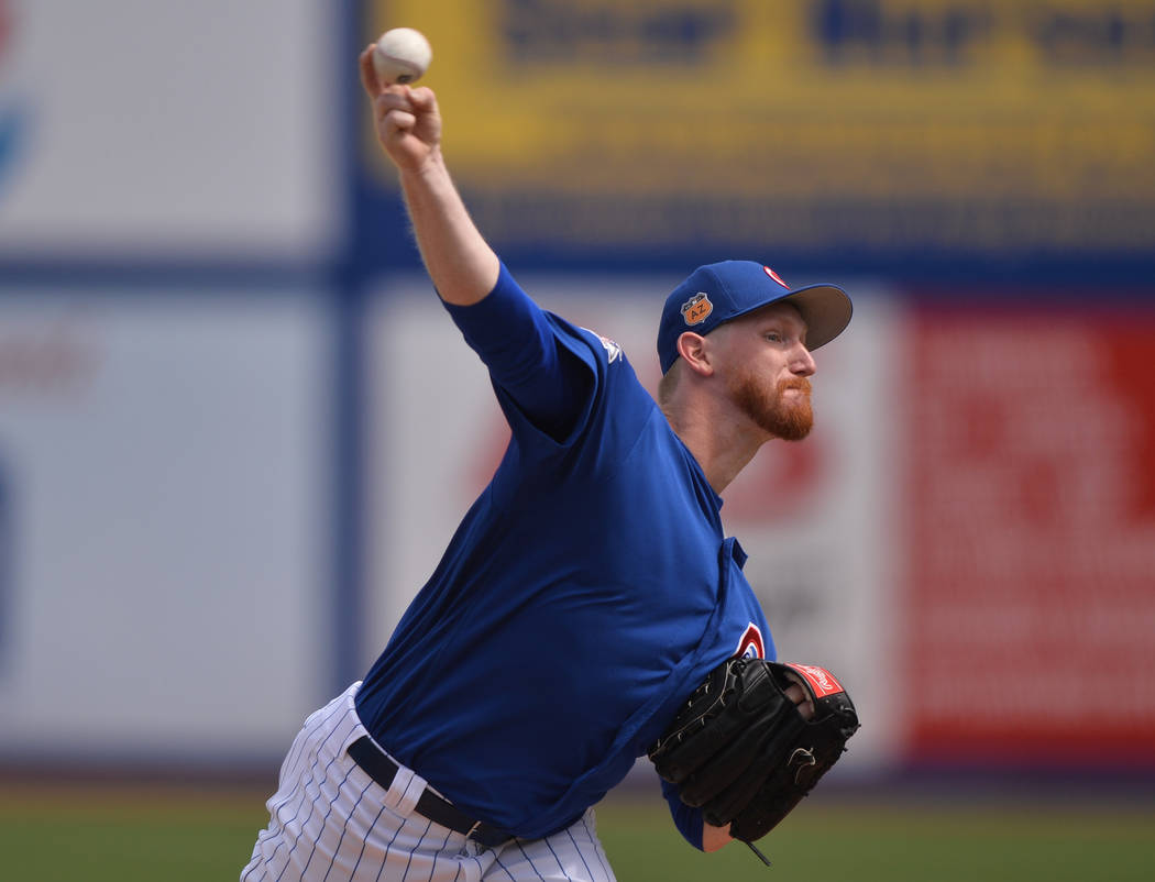 Chicago Cubs pitcher Eddie Butler (53) throws a pitch during a game between the Chicago Cubs and the Cincinnati Reds at Cashman Field in Las Vegas on Sunday, March 26, 2017. (Brett Le Blanc/Las Ve ...