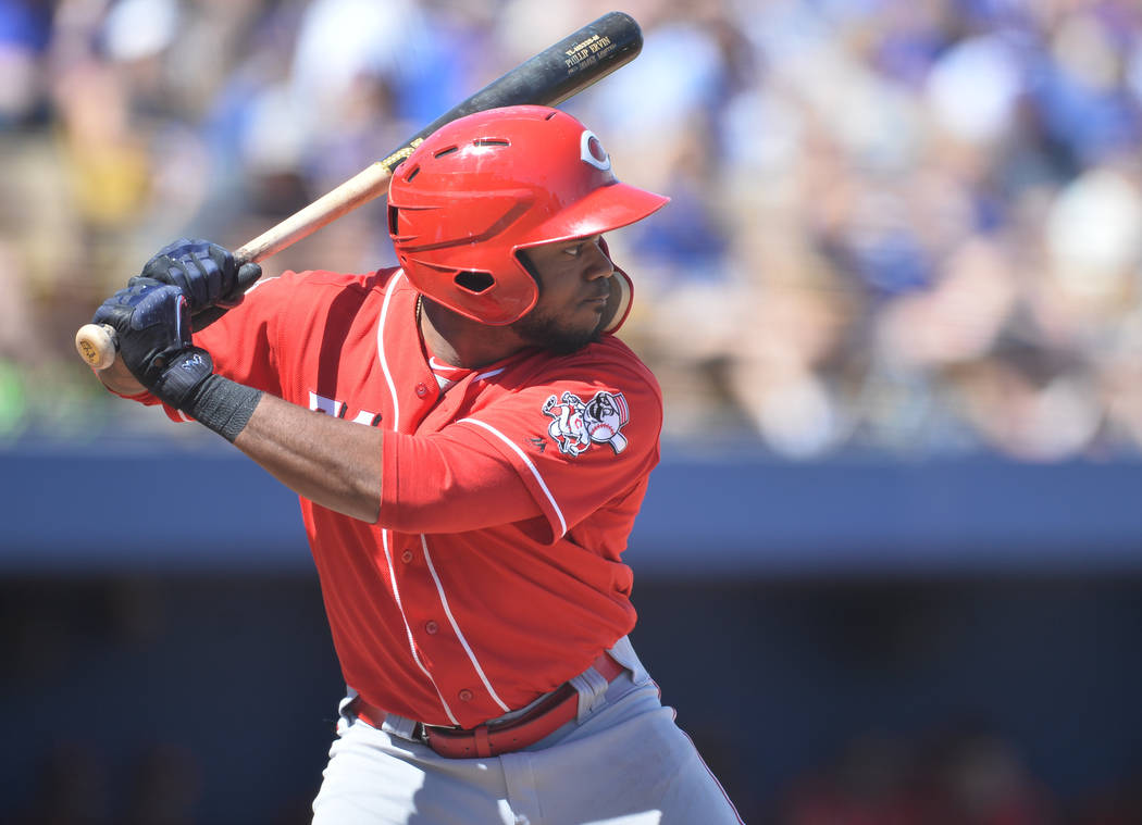 Cincinnati Reds outfielder Phillip Ervin (71) during a game between the Chicago Cubs and the Cincinnati Reds at Cashman Field in Las Vegas on Sunday, March 26, 2017. (Brett Le Blanc/Las Vegas Revi ...