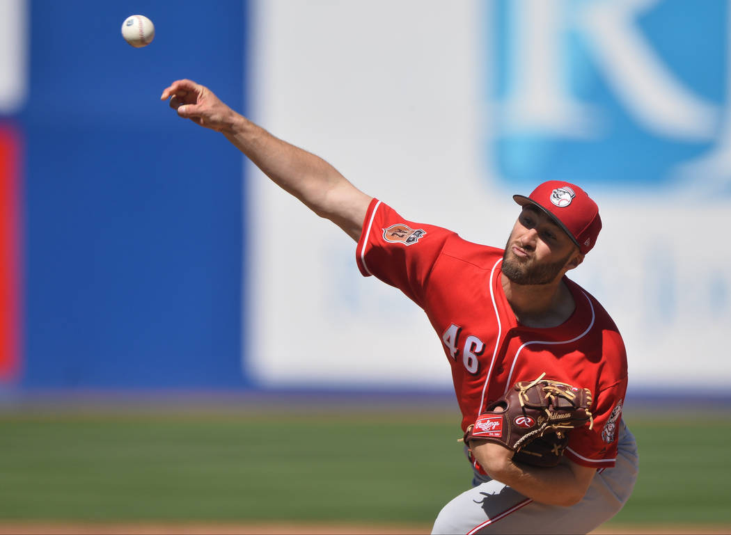 Cincinnati Reds pitcher Tim Adleman (46) throws a pitch during a game between the Chicago Cubs and the Cincinnati Reds at Cashman Field in Las Vegas on Sunday, March 26, 2017. (Brett Le Blanc/Las  ...
