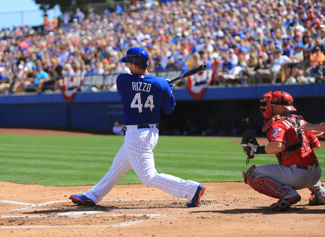 Chicago Cubs first baseman Anthony Rizzo (44) takes a swing during a game between the Chicago Cubs and the Cincinnati Reds at Cashman Field in Las Vegas on Sunday, March 26, 2017. (Brett Le Blanc/ ...