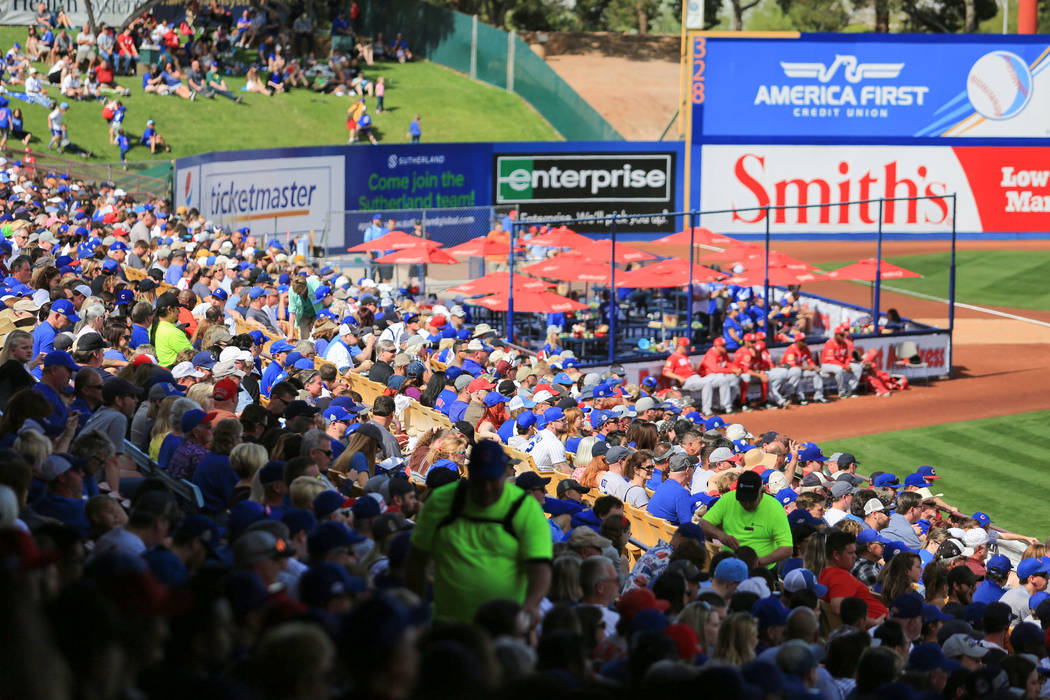 Fans watch a game between the Chicago Cubs and the Cincinnati Reds at Cashman Field in Las Vegas on Sunday, March 26, 2017. (Brett Le Blanc/Las Vegas Review-Journal) @bleblancphoto