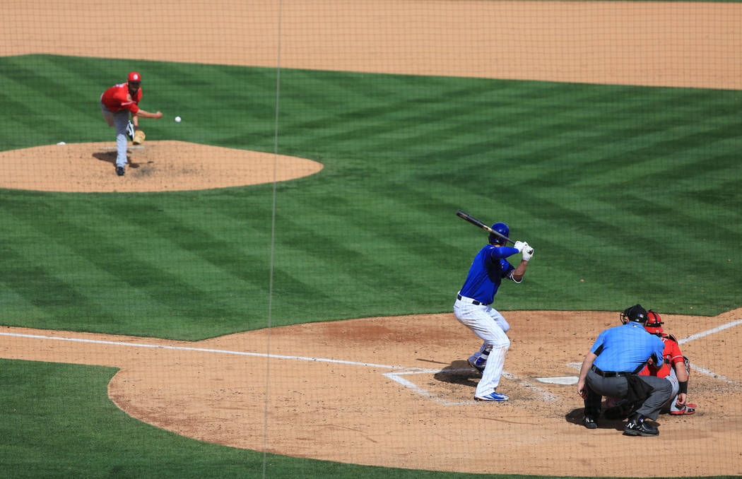 The Chicago Cubs and the Cincinnati Reds play during Big League Weekend at Cashman Field in Las Vegas on Sunday, March 26, 2017. (Brett Le Blanc/Las Vegas Review-Journal) @bleblancphoto