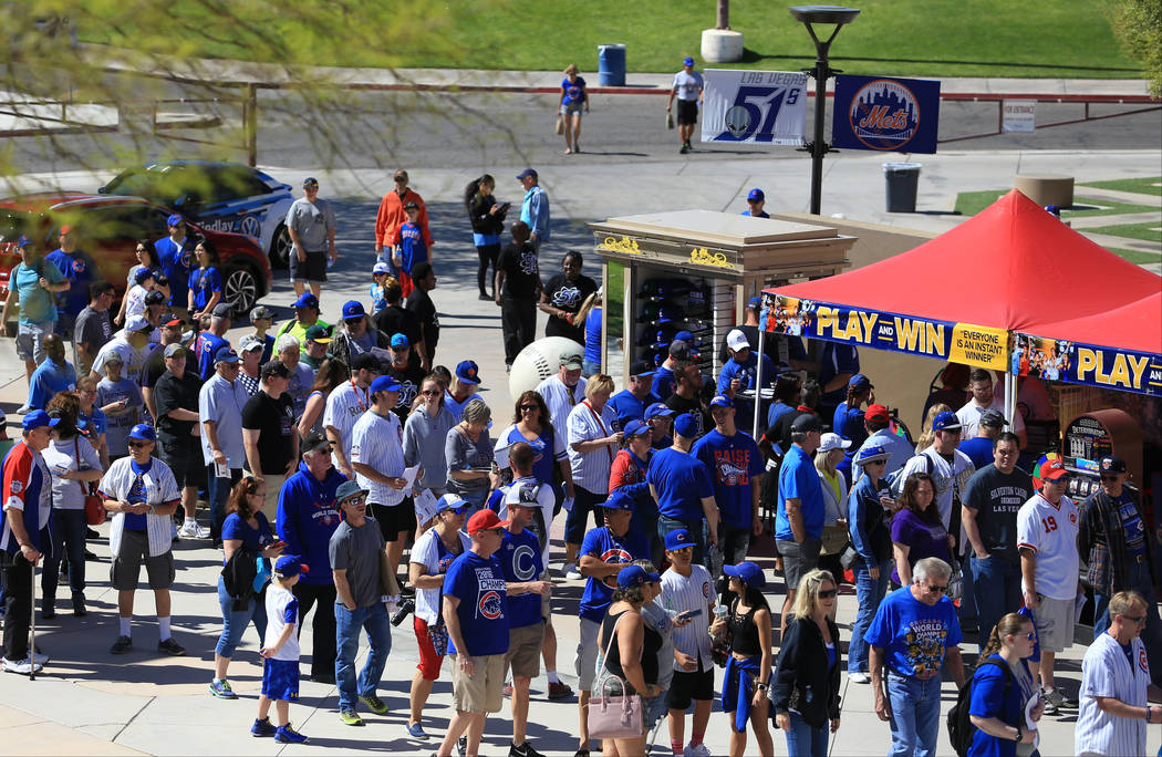 Fans wait for the gates to open before a game between the Chicago Cubs and the Cincinnati Reds at Cashman Field in Las Vegas on Sunday, March 26, 2017. (Brett Le Blanc/Las Vegas Review-Journal) @b ...