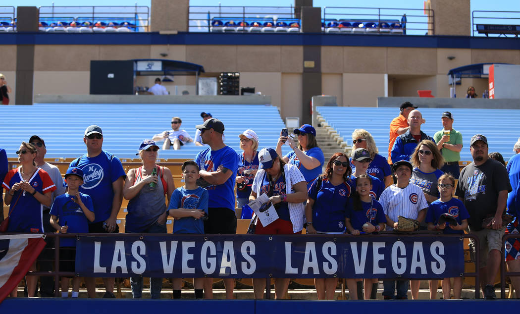 Fans wait to get autographs before a game between the Chicago Cubs and the Cincinnati Reds at Cashman Field in Las Vegas on Sunday, March 26, 2017. (Brett Le Blanc/Las Vegas Review-Journal) @blebl ...