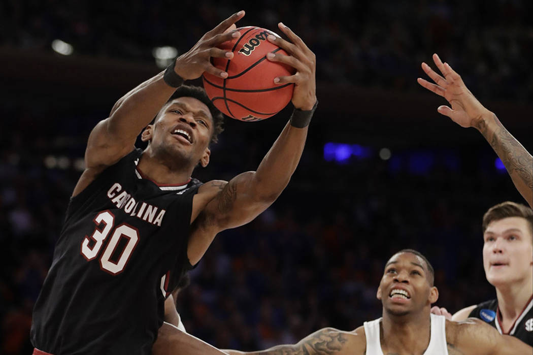 South Carolina forward Chris Silva (30) grabs a rebound against Florida during the second half of the East Regional championship game of the NCAA men's college basketball tournament, Sunday, March ...