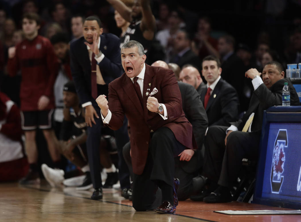 South Carolina head coach Frank Martin reacts during the second half of the East Regional championship game against Florida of the NCAA men's college basketball tournament, Sunday, March 26, 2017, ...