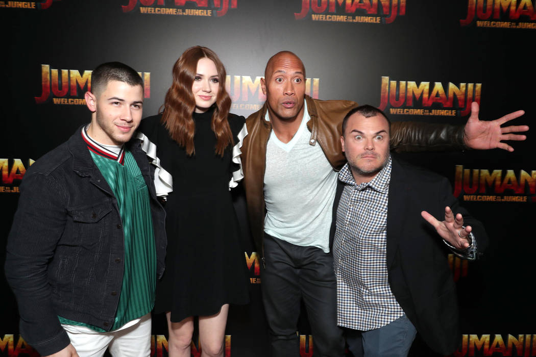 Nick Jonas, Karen Gillan, Dwayne Johnson and Jack Black seen at Columbia Pictures 'Jumanji: Welcome to the Jungle' photo call at 2017 CinemaCon on Monday, March 27, 2017, in Las Vegas. (Photo by E ...