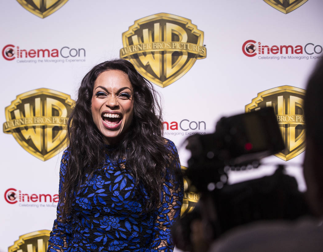 Actress Rosario Dawson stops for photos during the Warner Bros. red carpet event at CinemaCon on Wednesday, March 29, 2017, at Caesar's Palace hotel/casino, in Las Vegas. Dawson was there to promo ...