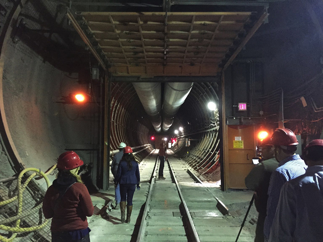 A look inside the south portal entrance to Yucca Mountain during a tour by federal lawmakers, congressional staff members, media and Department of Energy employees April 9, 2015. (Arnold M. Knight ...