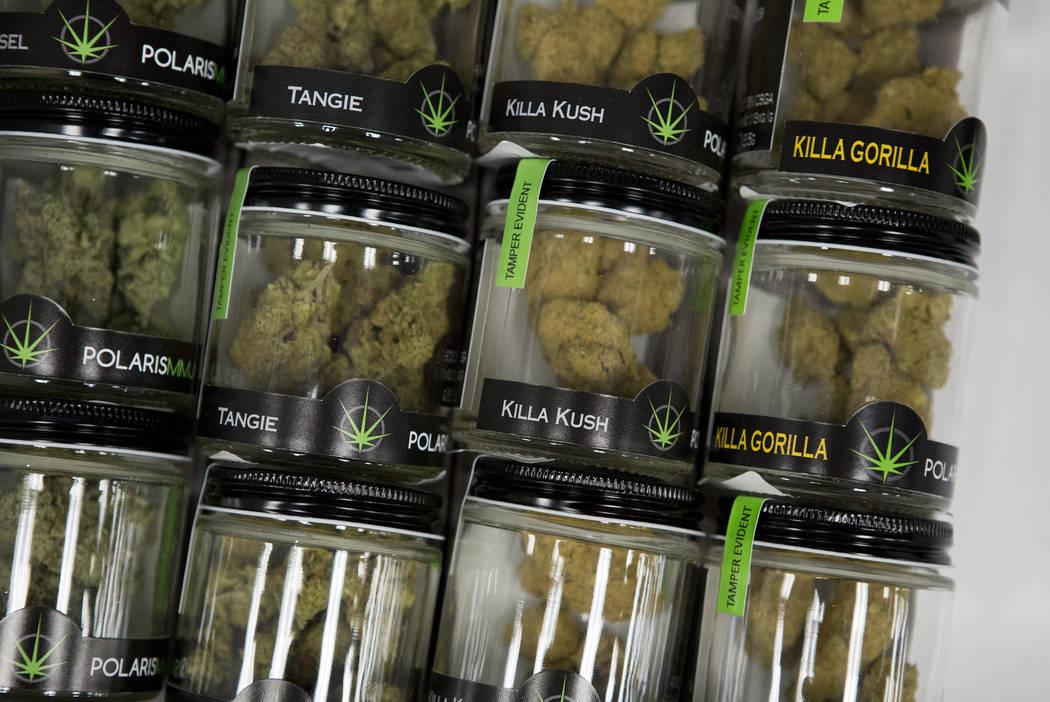Marijuana products sit in a drawer at BLÜM Las Vegas Medical Marijuana Dispensary on Wednesday, March 1, 2017, in Las Vegas.  (Bridget Bennett/Las Vegas Review-Journal) @bridgetkbennett