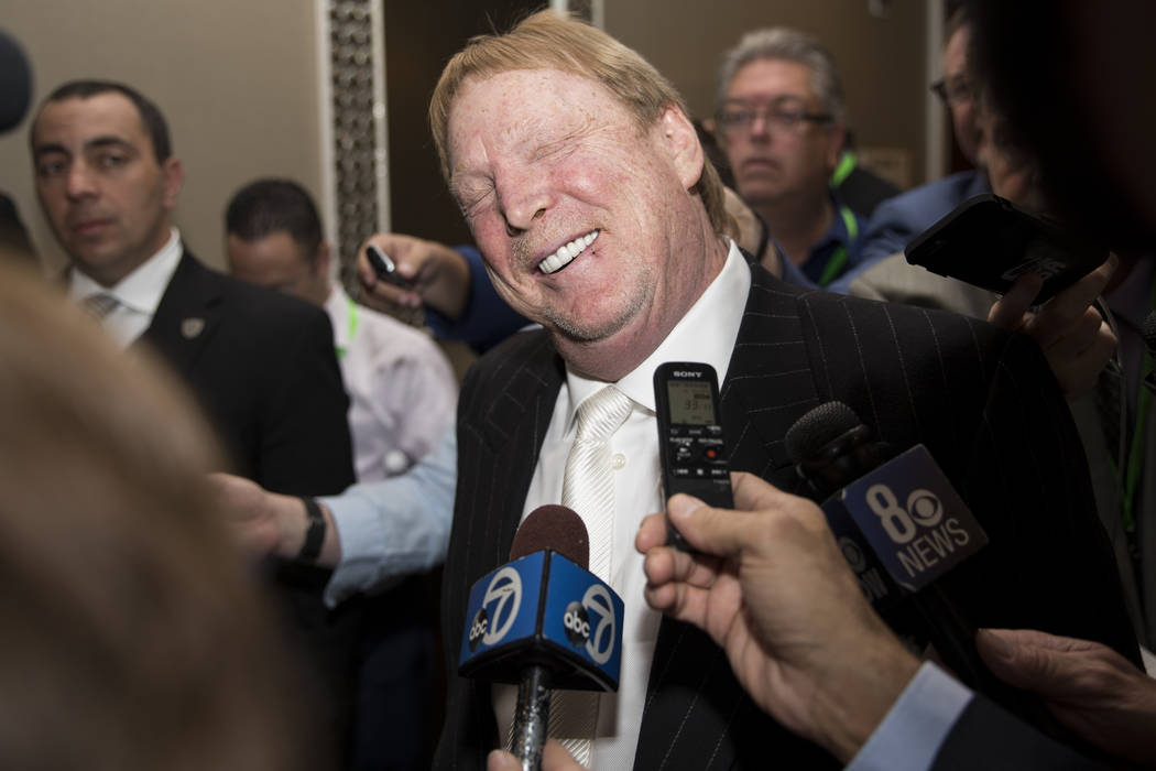 Oakland Raiders owner Mark Davis speaks during a press conference after the NFL approved the Raiders move to Las Vegas with a 31-1 vote during day two of the NFL Annual Meeting on Monday, March 27 ...
