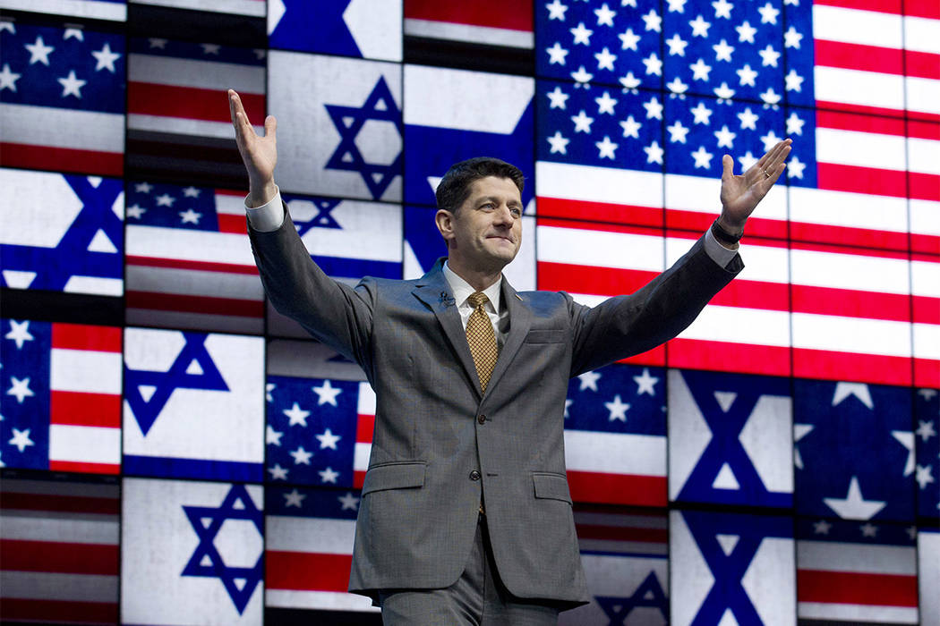 House Speaker Paul Ryan of Wis., waves to the crowd before he speaks at the 2017 American Israel Public Affairs Committee Policy Conference in Washington, Monday, March 27, 2017. (Jose Luis Magana/AP)