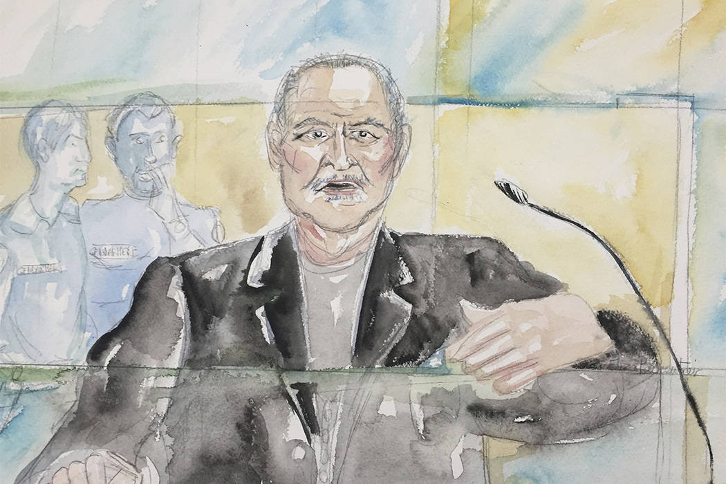 "This courtroom sketch on Tuesday, March 28, 2017, shows Venezuelan-born Ilich Ramirez Sanchez known as ""Carlos the Jackal"" during his trial at a Paris courthouse, France. (Eliza Parmentier via AP)"