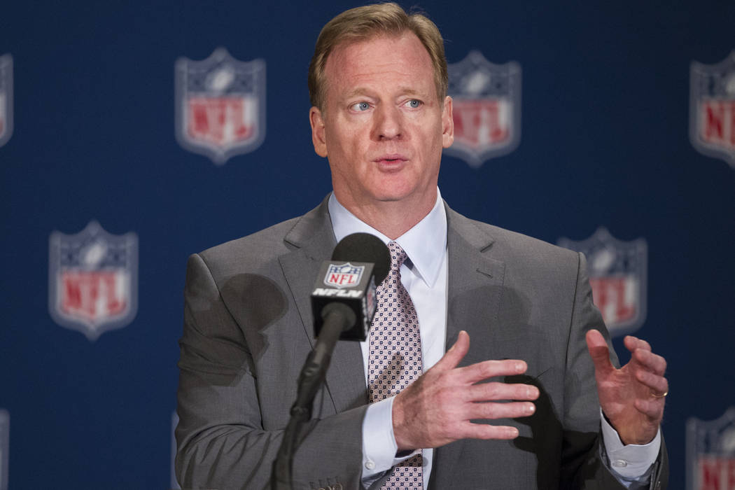 Commissioner Roger Goodell speaks during a press conference after the NFL approved the Raiders move to Las Vegas with a 31-1 vote in day two of the NFL Annual Meeting on Monday, March 27, 2017, in ...