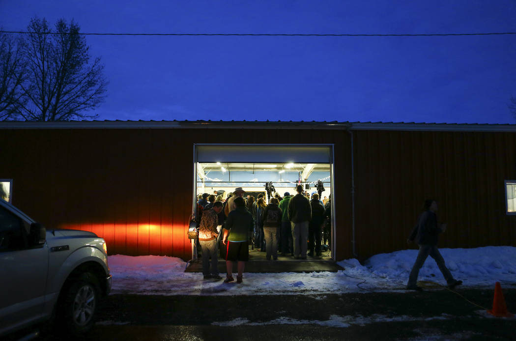 Residents gather during a community meeting held by Harney County Sheriff Dave Ward to address concerns in Burns, Ore. on Tuesday, Jan. 5, 2016. Anti-government protestors have taken over the Malh ...