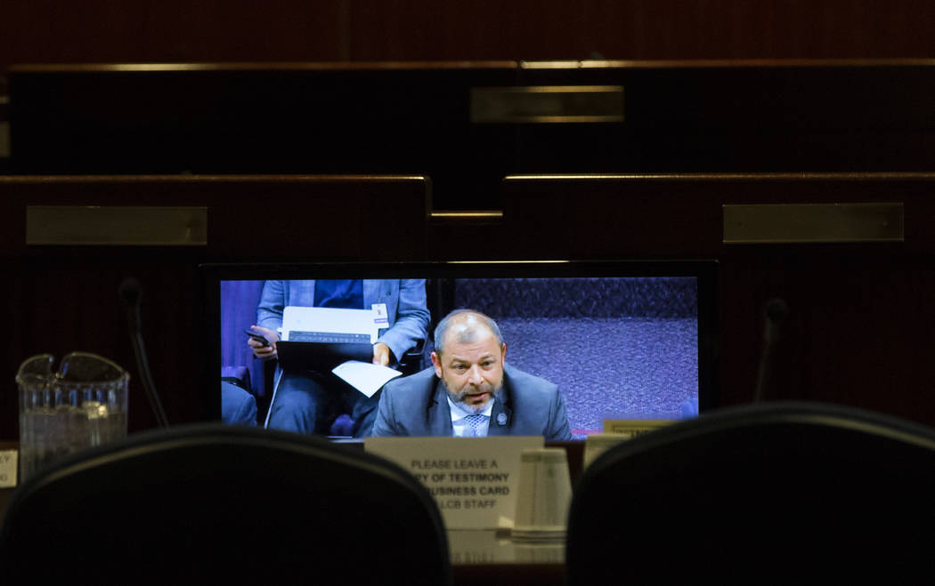 Assemblyman Paul Anderson speaks during a video conference hearing about Assembly Bill 394 at the Sawyer Building in Las Vegas on Wednesday, March 29, 2017. (Miranda Alam/Las Vegas Review-Journal) ...