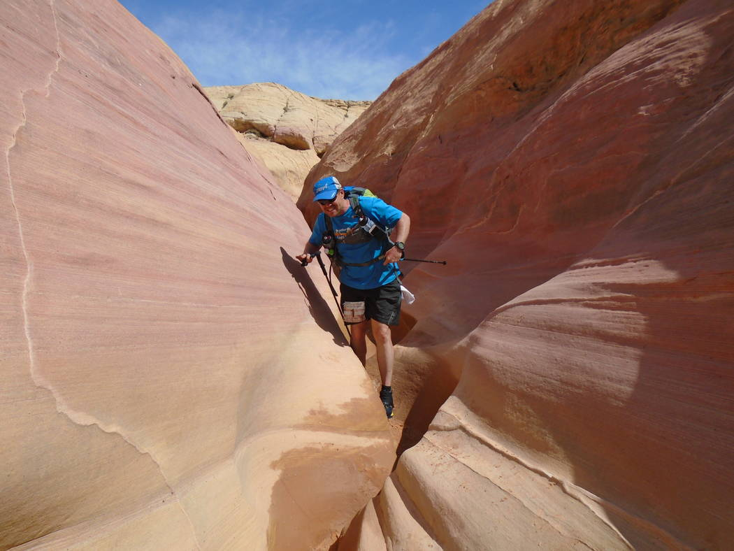 A runner is seen running through the Valley of Fire in the Vegas Valley Voyage on May 13, 2016. (Calico Racing)