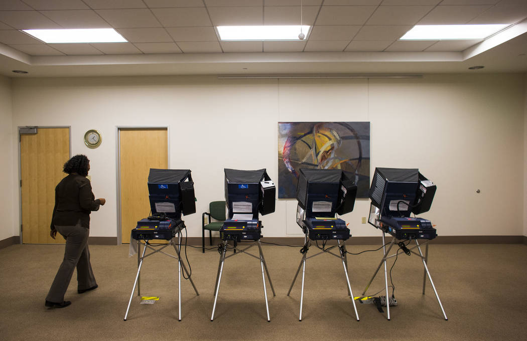 Barney Perkins prepares to vote early ahead of the Las Vegas municipal election at Las Vegas City Hall on Tuesday, March 28, 2017. (Chase Stevens/Las Vegas Review-Journal) @csstevensphoto