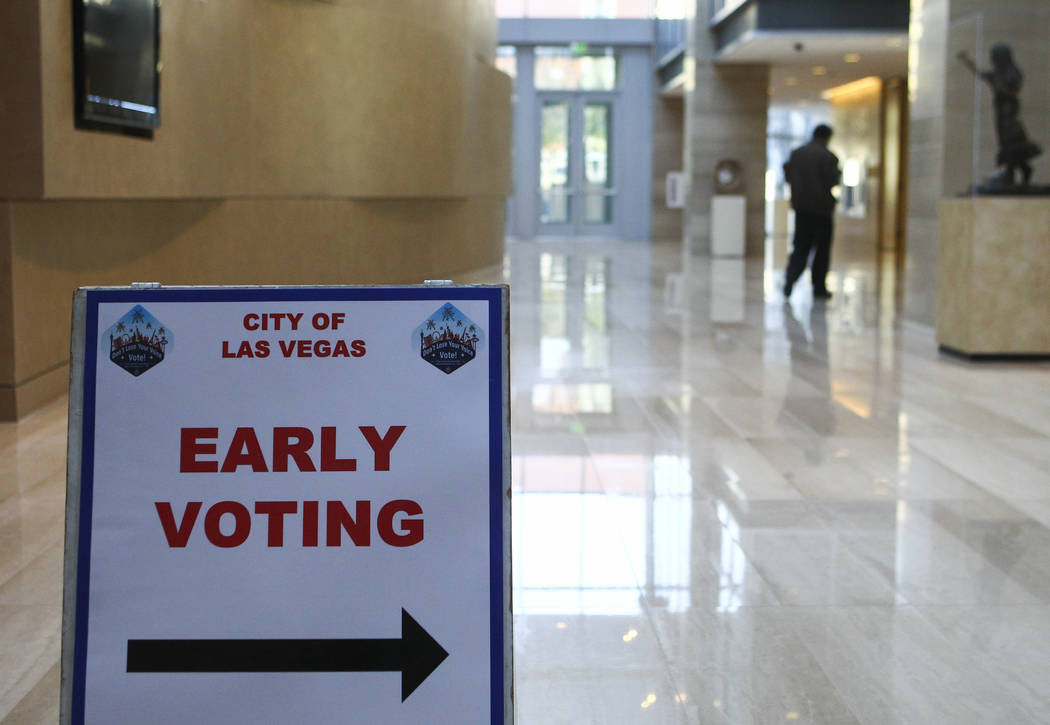 An early voting sign for the municipal election directs people to the polling place at Las Vegas City Hall on Tuesday, March 28, 2017. (Chase Stevens/Las Vegas Review-Journal) @csstevensphoto