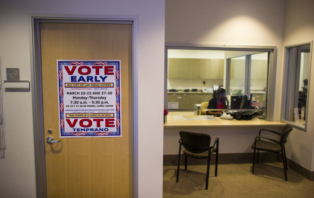 A sign encourages people to vote early ahead of the Las Vegas municipal election at Las Vegas City Hall on Tuesday, March 28, 2017. (Chase Stevens/Las Vegas Review-Journal) @csstevensphoto