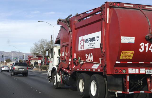 A Republic Services of Southern Nevada truck returns to the company's disposal facility Wednesday, Dec. 7, 2016, in North Las Vegas. (Bizuayehu Tesfaye/Las Vegas Review-Journal) @bizutesfaye
